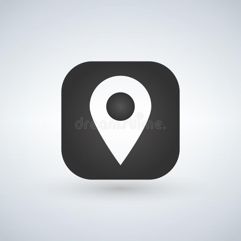 Trace o símbolo do ponteiro ou de lugar de GPS sobre o ícone da aplicação Ilustração do vetor ilustração do vetor