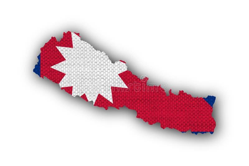 Trace y bandera de Nepal en el lino viejo fotos de archivo libres de regalías