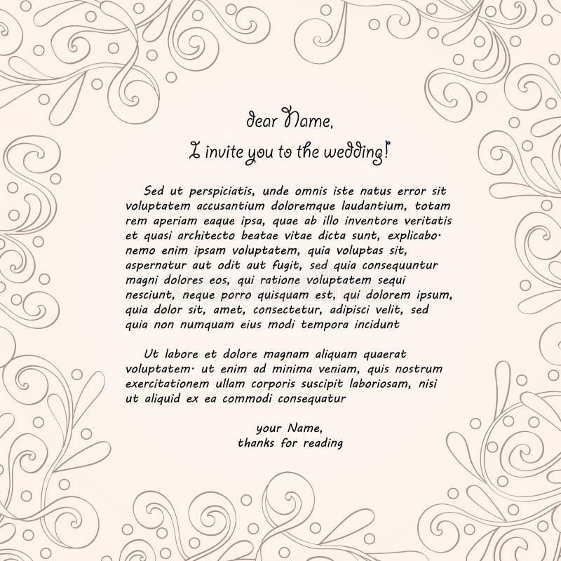 Tracery καρτών χειροποίητο, γαμήλια πρόσκληση διανυσματική απεικόνιση