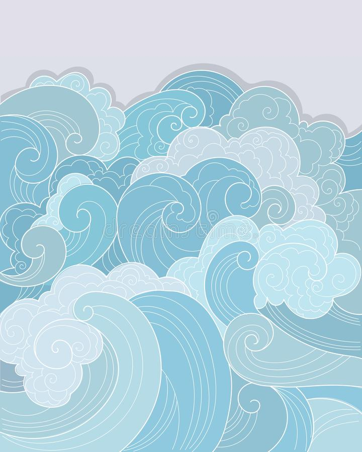 Tracery blue sea background royalty free stock photo