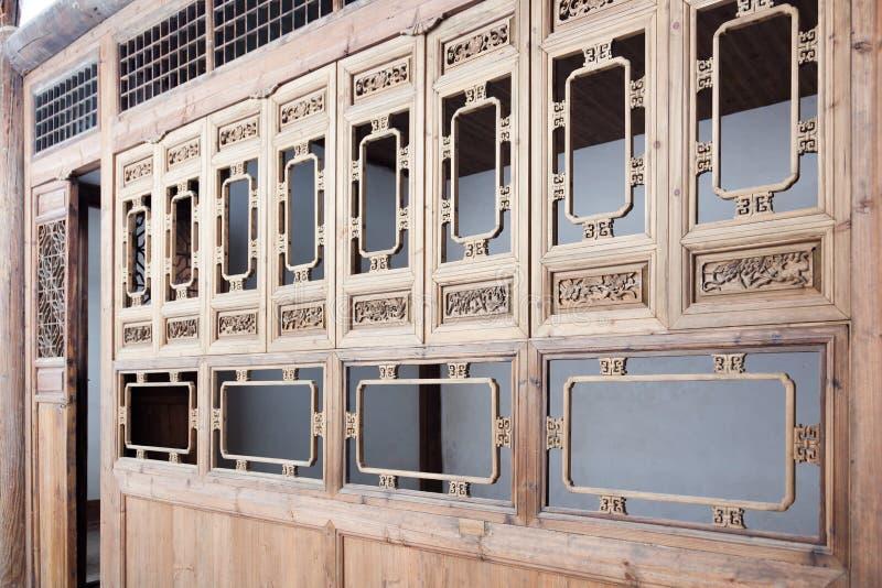 Tracery claro de madeira chinês típico do estilo velho foto de stock