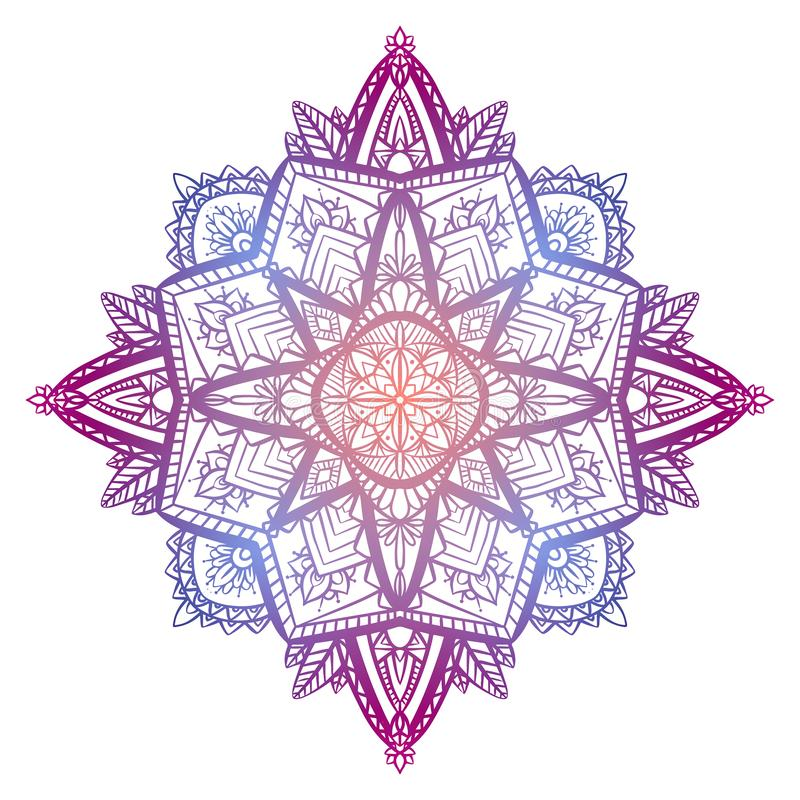 Tracery coloring zen mandala. The object is separate from the background. Vector delicate doodle element royalty free illustration
