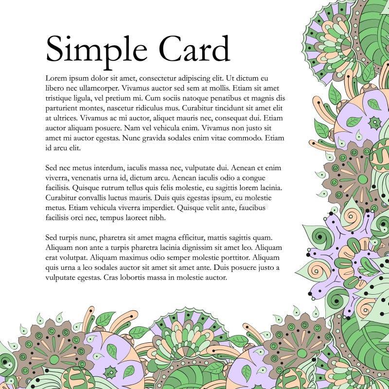 Tracery handmade, естественное настроение карточки Mehendi бесплатная иллюстрация
