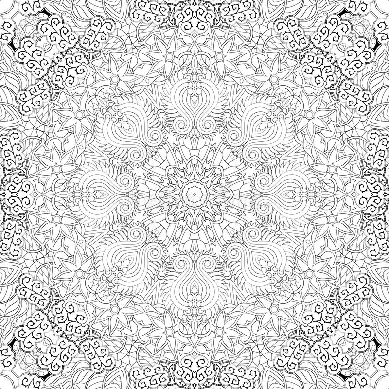 Tracery mehndi curved ornament. Ethnic motif, monochrome binary harmonious doodle texture. Black and white. Vector. stock illustration