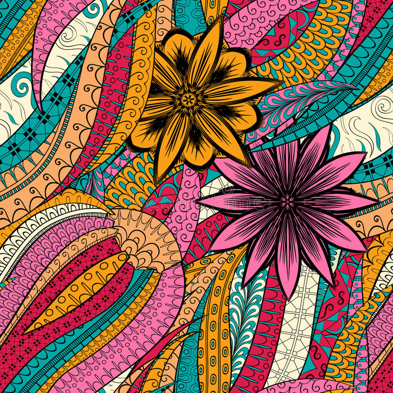 Tracery mehndi ethnic ornament. Indifferent discreet calming motif, usable doodling colorful harmonious design. Vector. Tracery seamless calming orange pattern vector illustration