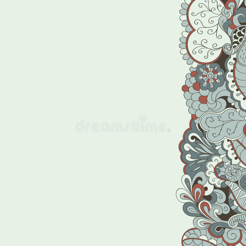 Tracery met de hand gemaakte, natuurlijke stemming van de Mehendikaart vector illustratie