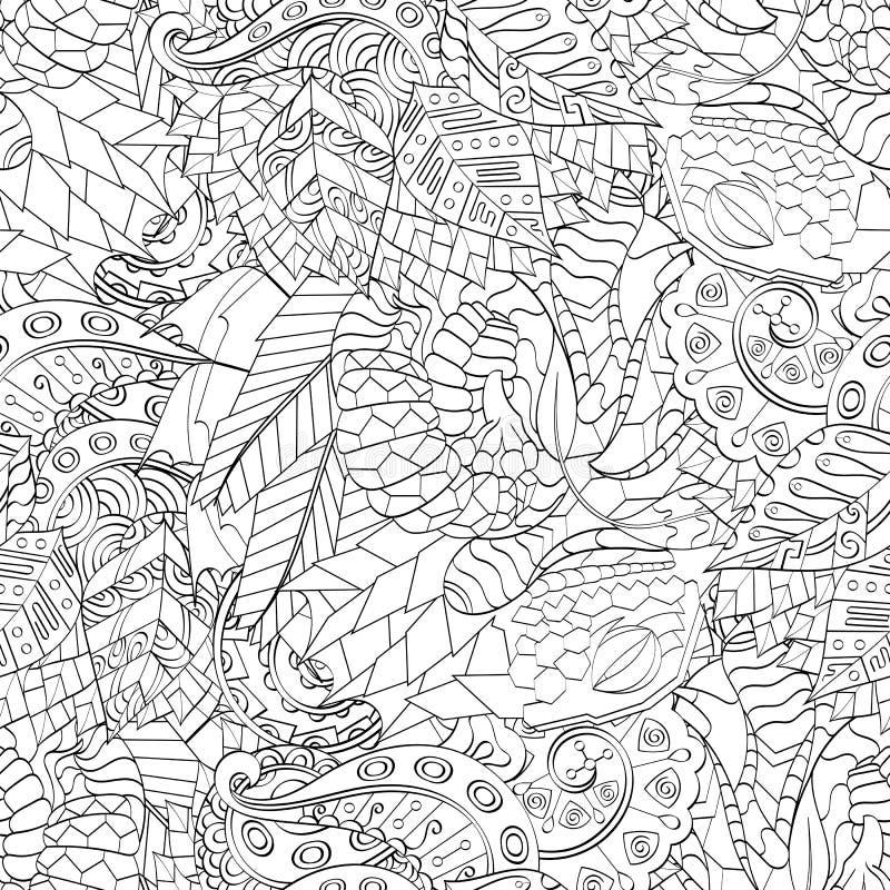 Tracerymehndi gebogen ornament Etnisch motief, zwart-wit binaire harmonische krabbeltextuur Rebecca 36 Vector royalty-vrije illustratie