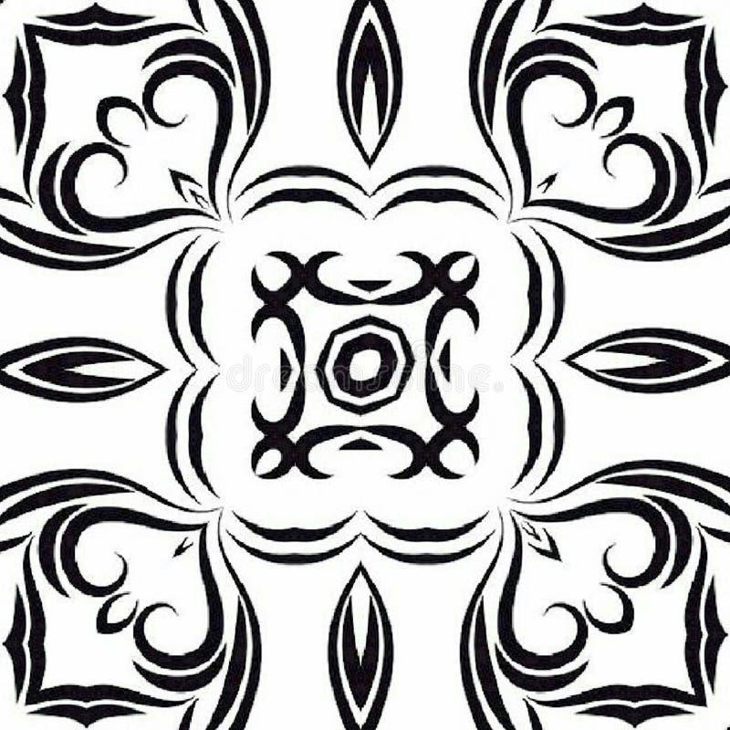 Tracerymehndi gebogen ornament Etnisch motief, zwart-wit patroon, tatoomotief royalty-vrije illustratie
