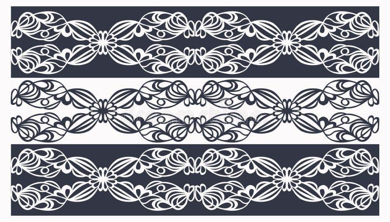 tracerymodellband som är vita på svart royaltyfri illustrationer