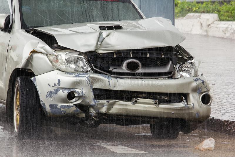Two Damaged Cars At Place Of Accident Stock Image - Image of