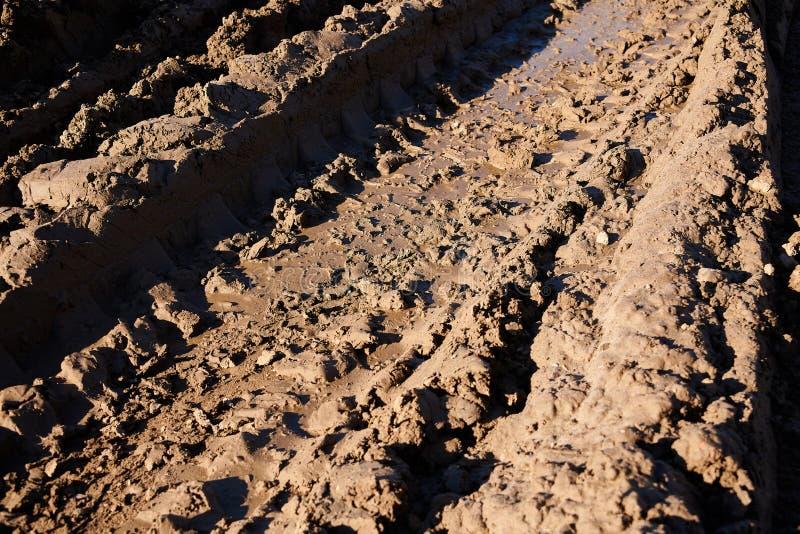 traces dans la boue photographie stock