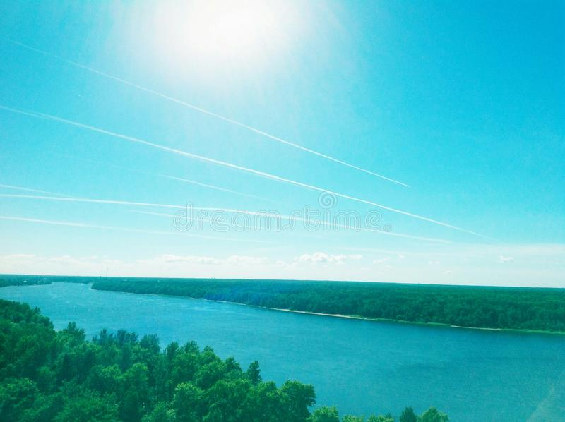 Traces des avions photographie stock libre de droits