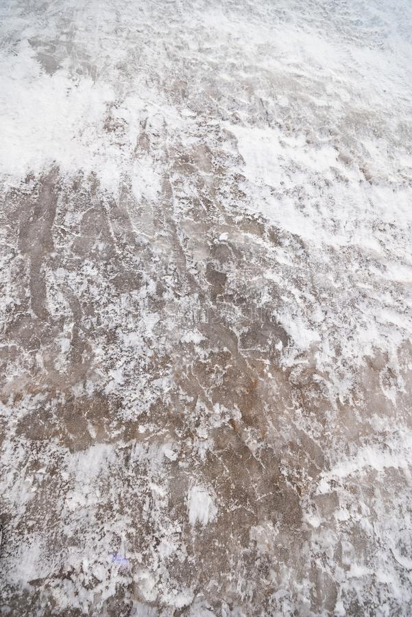 Traces des chaussures sur la surface des pavés images libres de droits