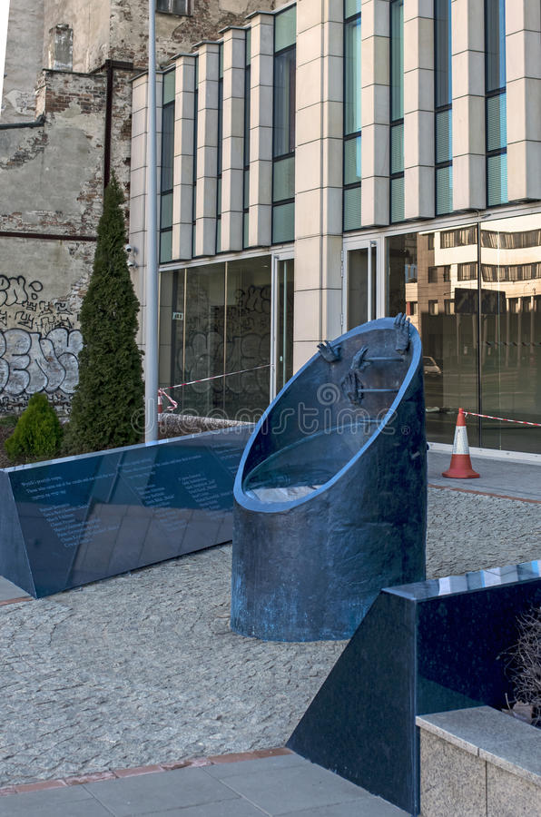 Traces of Jewish Warsaw - Ghetto fighters monument. The monument commemorates the Jewish insurgents and is located at 51, Prosta Street where forty Jewish royalty free stock photos