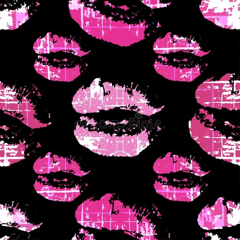 Traces roses de lèvre dessus d'un modèle sans couture de fond noir illustration libre de droits
