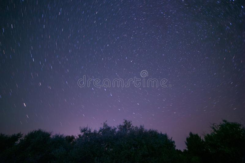 Traces of stars around Polar star at night. View on traces of stars around Polar star at night stock images