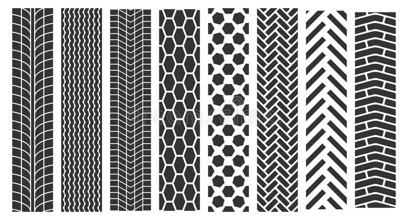 Traces of tires. Vector set of seamless tire prints royalty free illustration