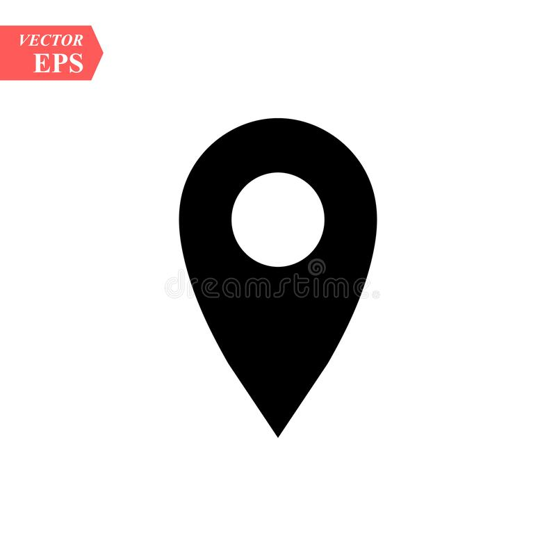 Tracez l'icône d'emplacement de signe de goupilles avec le noir d'ellipse dans le style simple plat Formes rondes noires sur le f illustration de vecteur