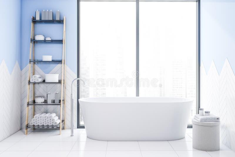 Tracez l'intérieur blanc et bleu de salle de bains avec le baquet illustration stock