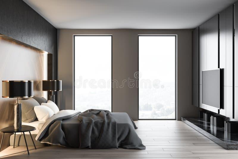 Tracez l'intérieur blanc et gris de chambre à coucher avec la TV illustration de vecteur