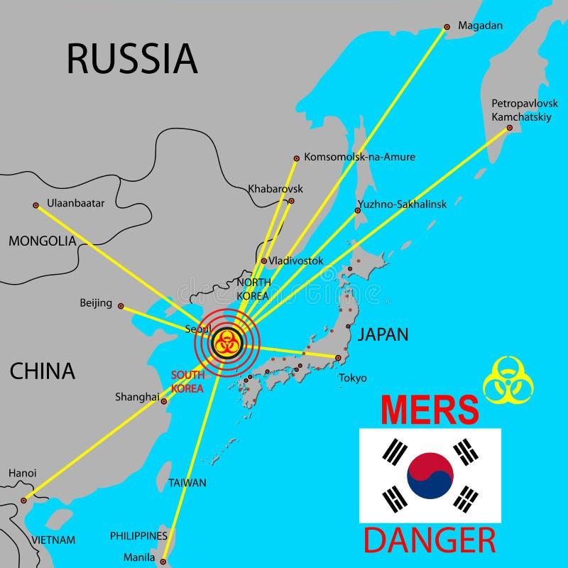 Tracez la diffusion de Mers Corona Virus illustration de vecteur