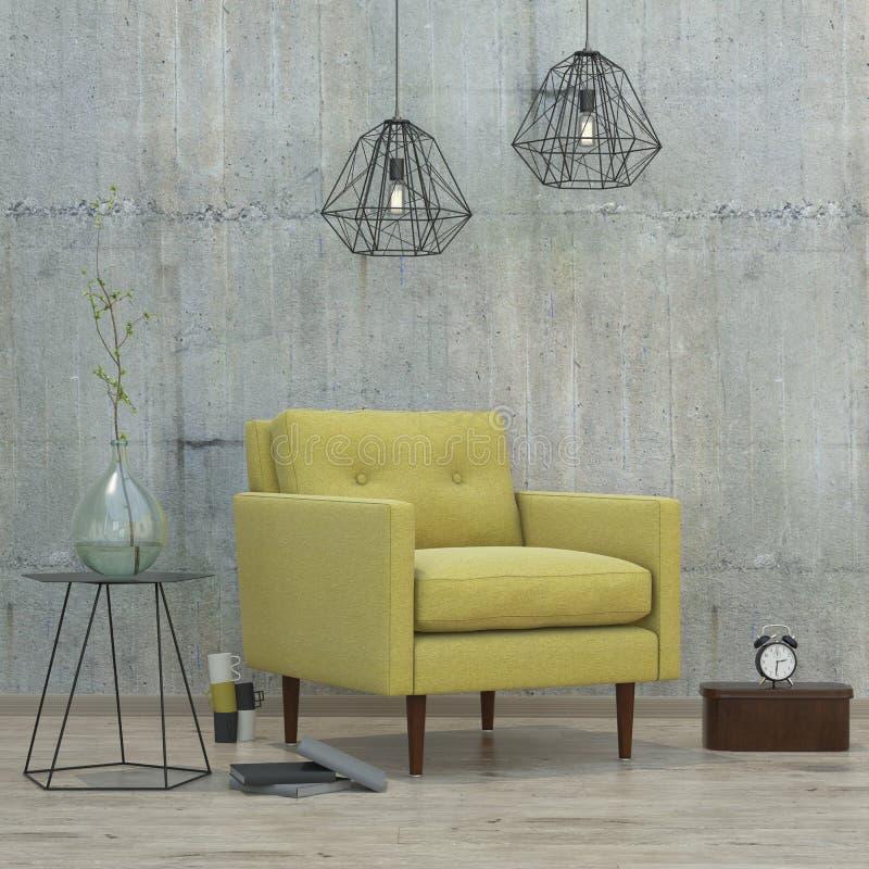 Tracez la pièce intérieure avec les lampes et le sofa jaune, 3D photographie stock
