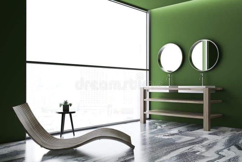 Tracez le coin de luxe vert de salle de bains, double évier images stock