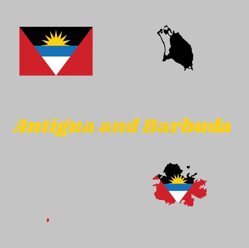 Tracez le contour et le drapeau de l'Antigua-et-Barbuda, tricolore horizontal d'A de noir, bleu et blanc, avec deux triangles rou illustration stock
