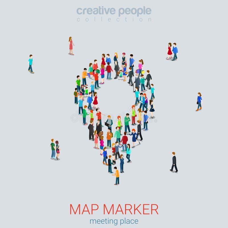 Tracez le vecteur 3d plat de foule micro de personnes de forme de signe de goupille isométrique illustration stock