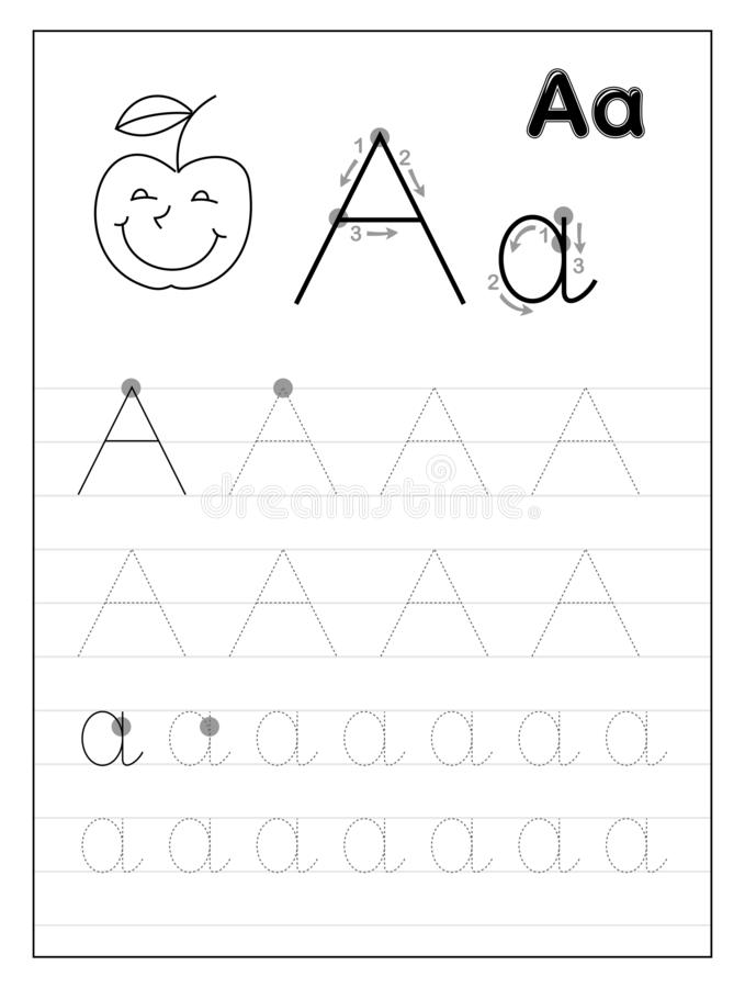 Tracing Alphabet Letter A. Black And White Educational Pages On Line For  Kids. Stock Vector - Illustration Of Children, Letter: 159393749