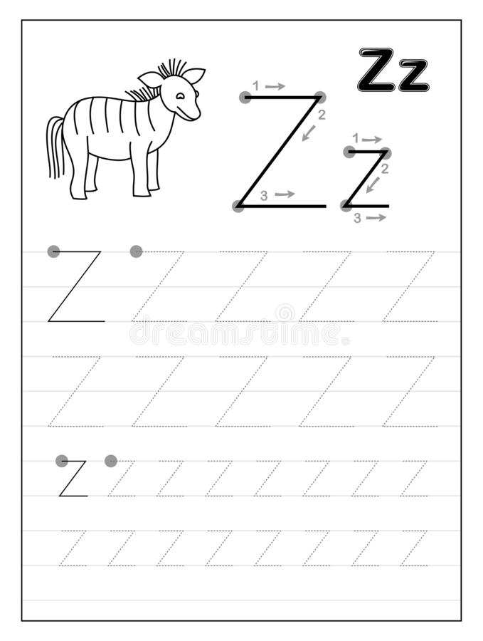 Free Tracing Alphabet Letter Z. Black And White Educational Pages On Line For Kids. Printable Worksheet For Children Textbook. Stock Image - 160230461