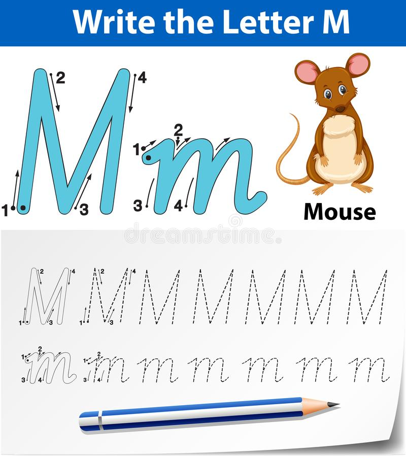 Tracing alphabet template for letter M stock illustration