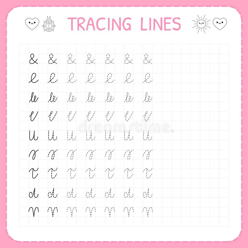 Tracing lines. Basic writing. Worksheet for kids. Working pages for children. Preschool or kindergarten worksheets. Trace the patt. Ern. Vector illustration stock illustration