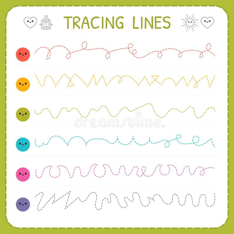 Tracing lines. Basic writing. Worksheet for kids. Working pages for children. Trace the pattern. Preschool or kindergarten workshe. Ets. Vector illustration royalty free illustration