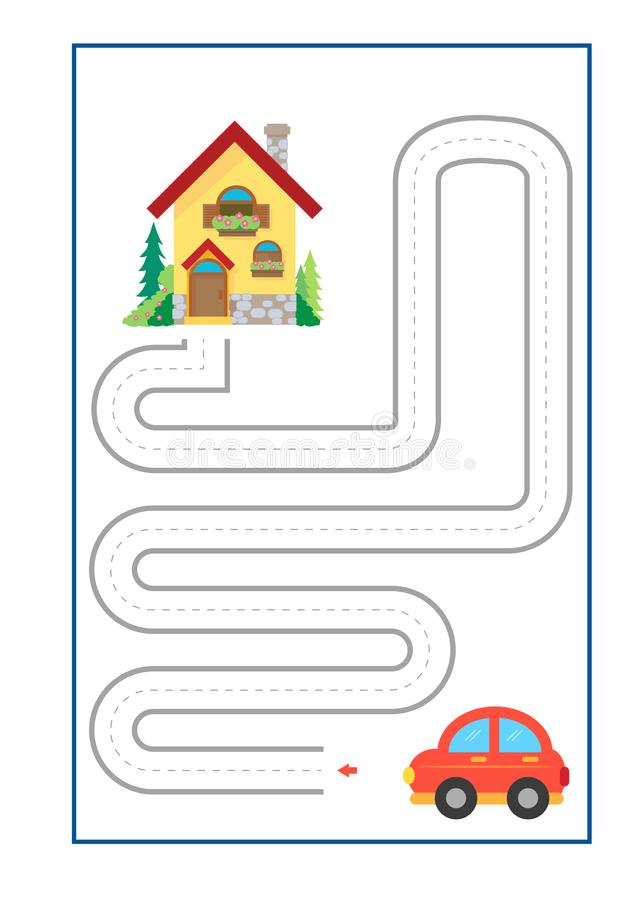 Tracing Lines game vector for preschool or kindergarten and special Education. Tracing Lines for developing fine motor skills. Tracing Lines game vector for stock illustration