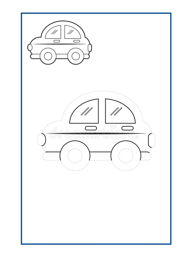 Tracing Lines game vector for preschool or kindergarten and special Education. Tracing Lines for developing fine motor skills. Tracing Lines game vector for royalty free illustration