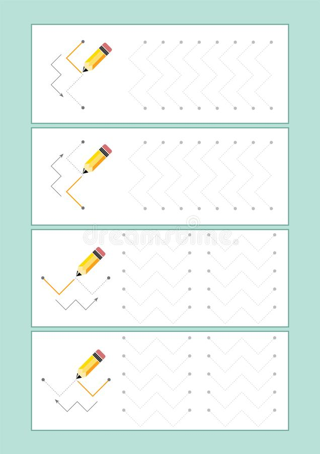 Tracing Lines vector for preschool or kindergarten and special Education. Tracing Lines for developing fine motor skills. Tracing Lines vector for preschool vector illustration