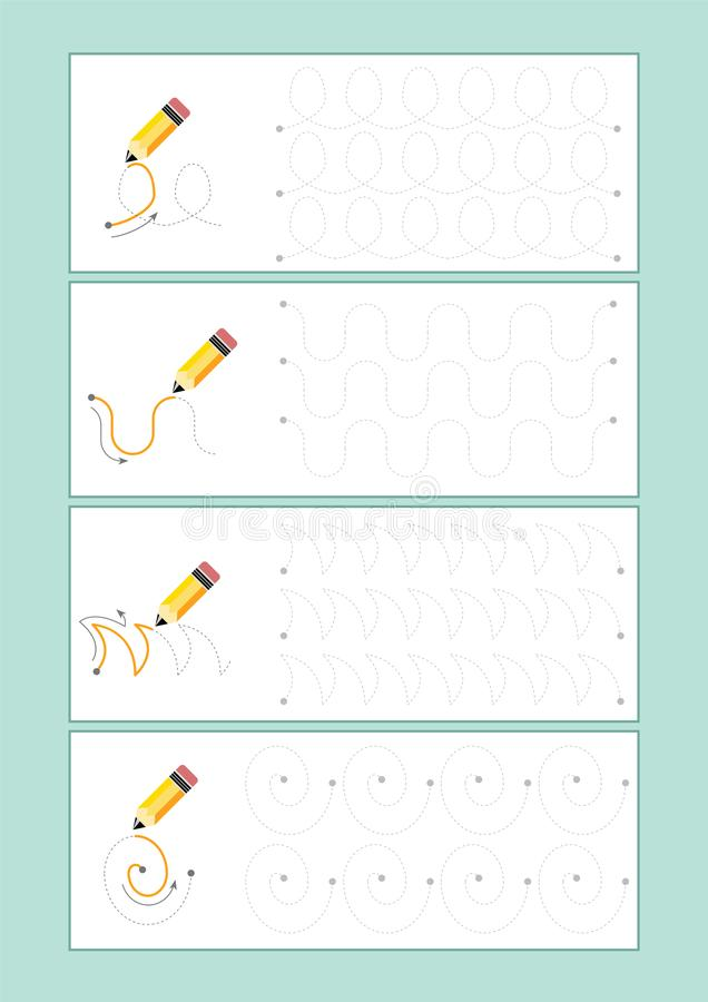 Tracing Lines vector for preschool or kindergarten and special Education. Tracing Lines for developing fine motor skills. Tracing Lines vector for preschool royalty free illustration