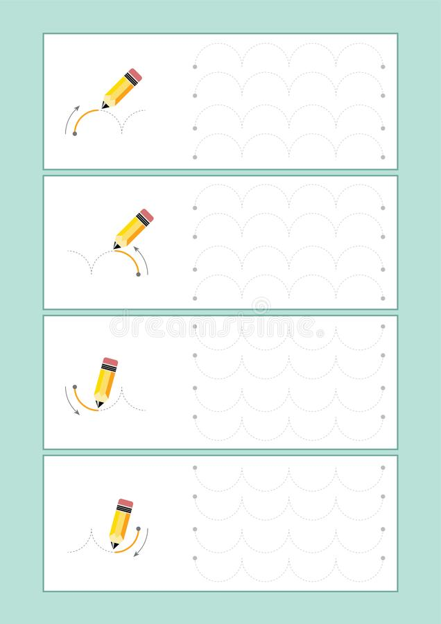 Tracing Lines vector for preschool or kindergarten and special Education. Tracing Lines for developing fine motor skills. Tracing Lines vector for preschool stock illustration