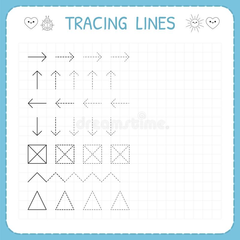 Tracing lines. Working pages for children. Preschool or kindergarten worksheets. Basic writing. Trace the pattern. Worksheet for k. Ids. Vector illustration royalty free illustration