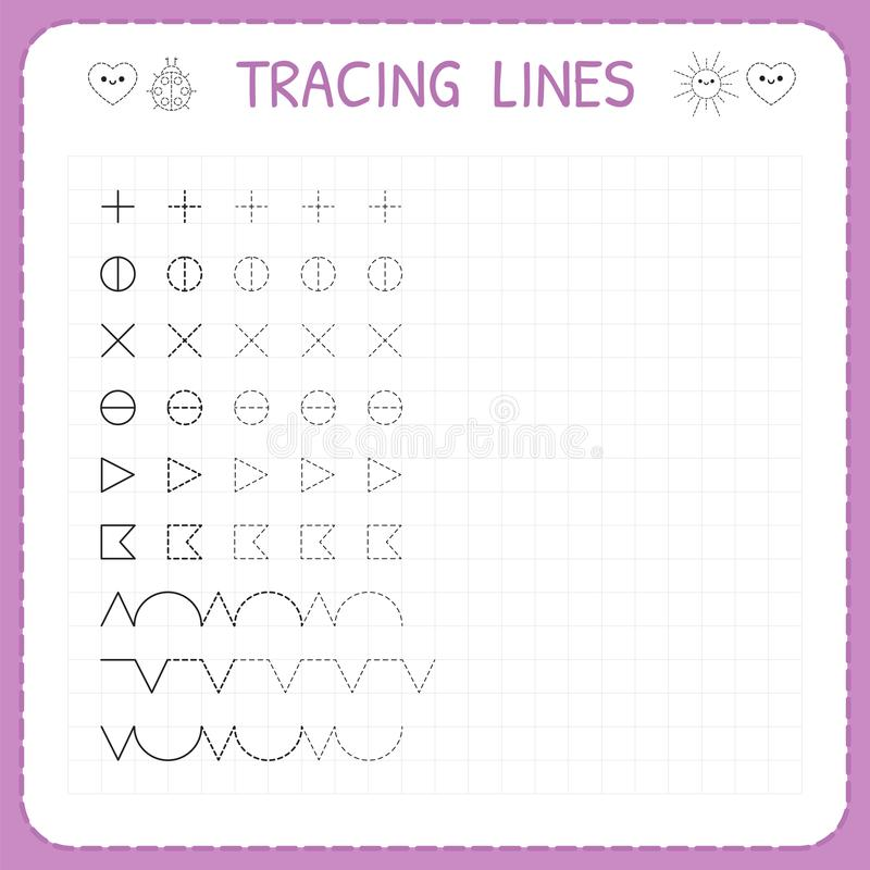 Tracing lines. Working pages for children. Preschool or kindergarten worksheets. Worksheet for kids. Basic writing. Trace the patt. Ern. Vector illustration stock illustration