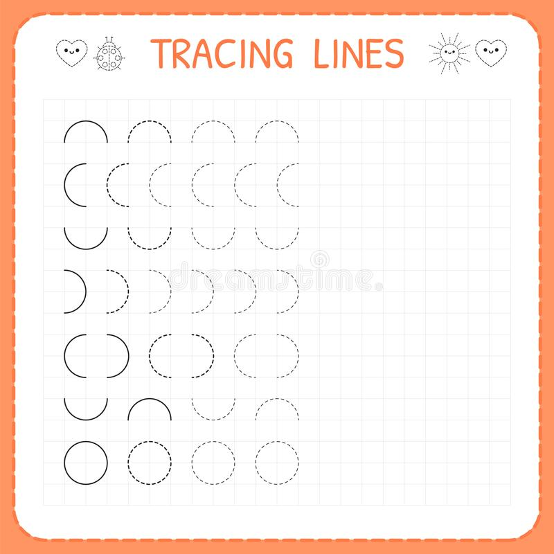 Tracing lines. Worksheet for kids. Basic writing. Working pages for children. Preschool or kindergarten worksheets. Trace the patt. Ern. Vector illustration vector illustration