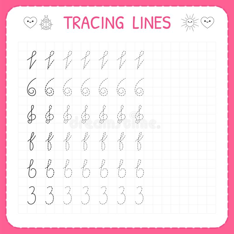 Tracing lines. Worksheet for kids. Trace the pattern. Basic writing. Preschool or kindergarten worksheets. Working pages for child. Ren. Vector illustration vector illustration