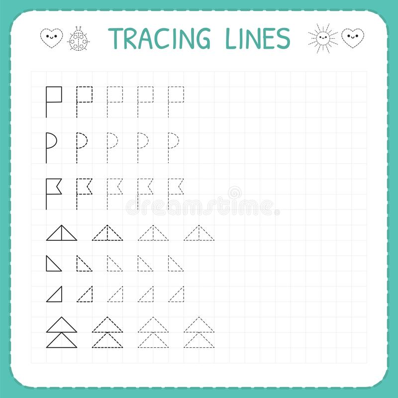 Tracing lines. Worksheet for kids. Trace the pattern. Basic writing. Working pages for children. Preschool or kindergarten workshe. Ets. Vector illustration vector illustration