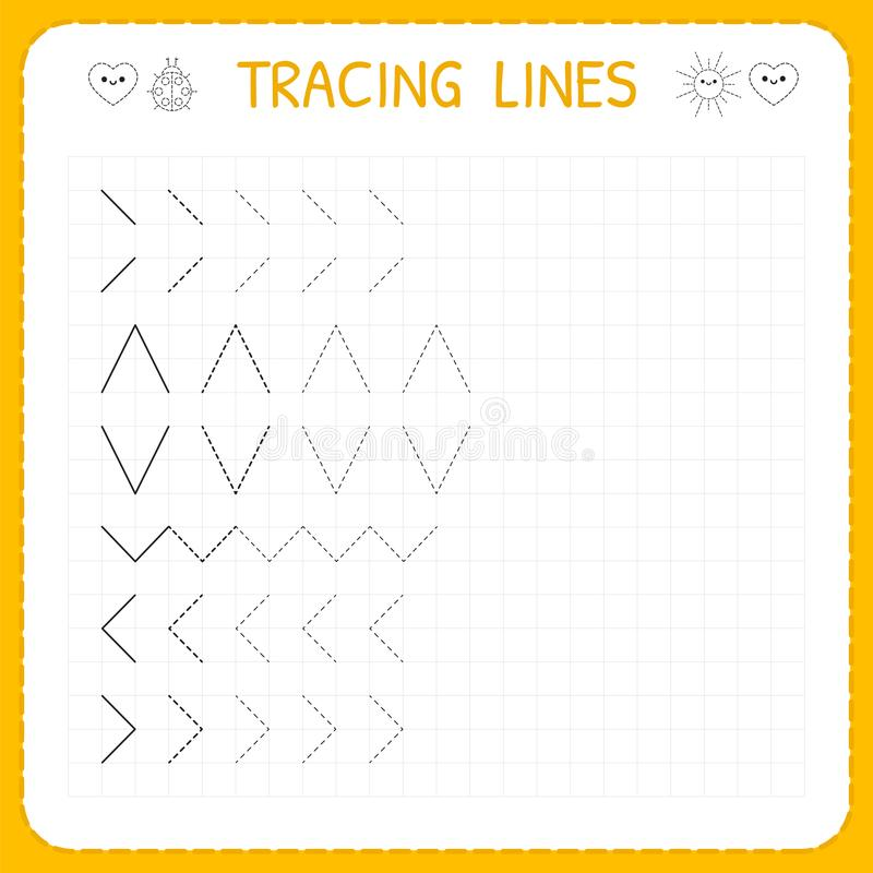 Tracing lines. Worksheet for kids. Working pages for children. Preschool or kindergarten worksheets. Basic writing. Trace the patt. Ern. Vector illustration stock illustration