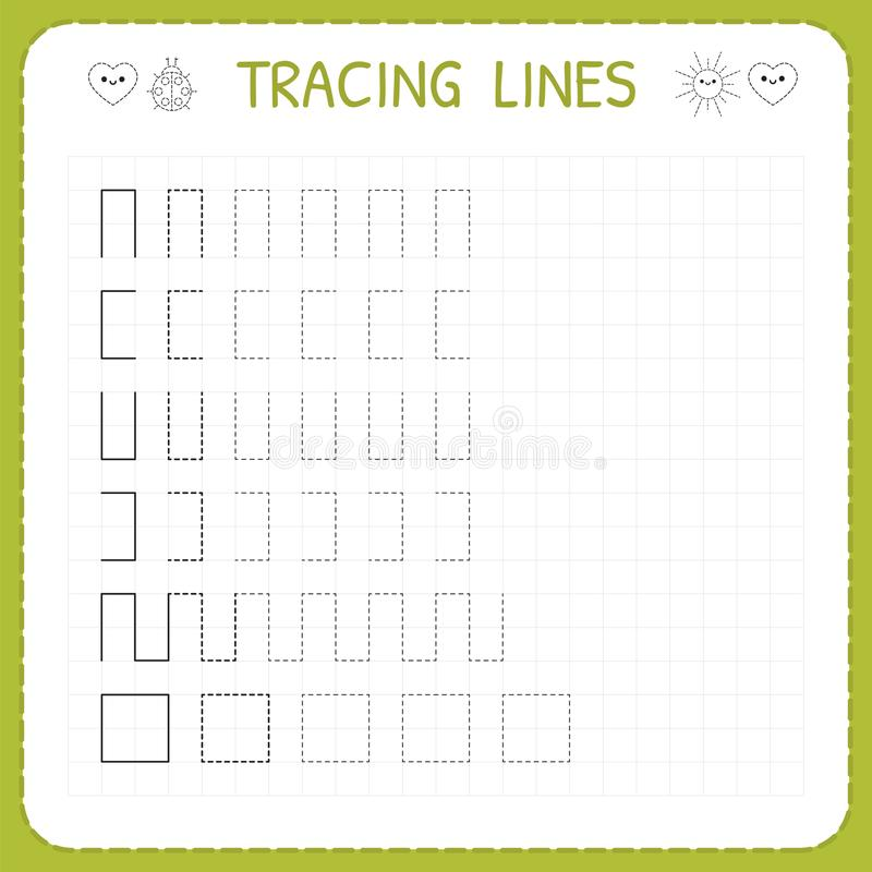 Tracing lines. Worksheet for kids. Working pages for children. Preschool or kindergarten worksheets. Trace the pattern. Basic writ. Ing. Vector illustration royalty free illustration