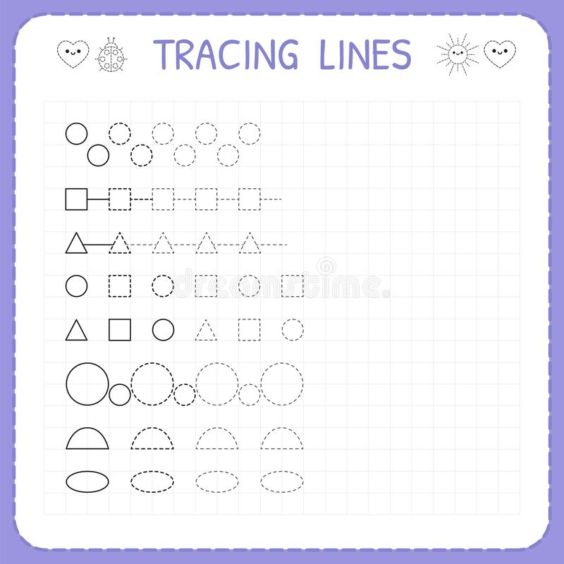 Tracing lines. Worksheet for kids. Working pages for children. Trace the pattern. Basic writing. Preschool or kindergarten workshe. Ets. Vector illustration vector illustration