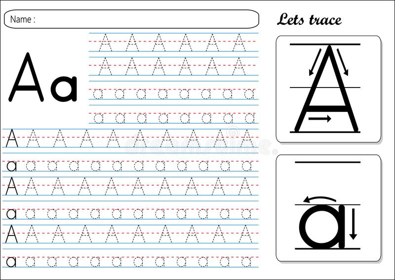 Tracing Worksheet -Aa vector illustration
