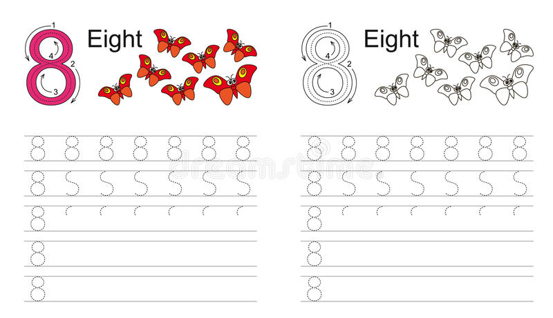 Tracing worksheet for figure eight vector illustration