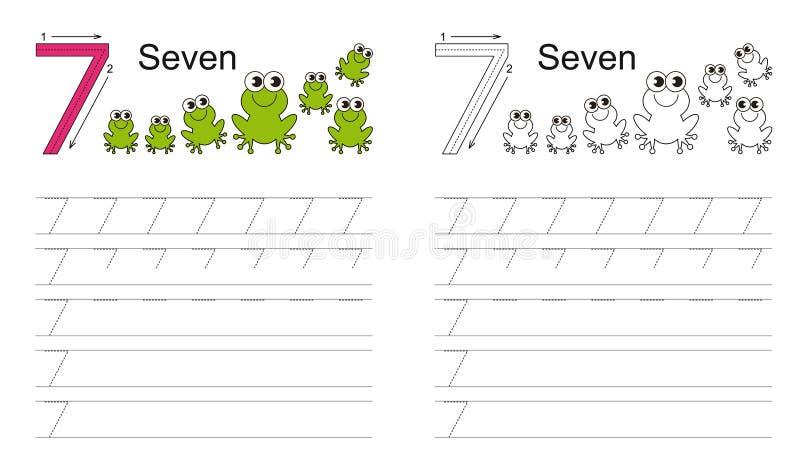 Tracing worksheet for figure seven royalty free illustration